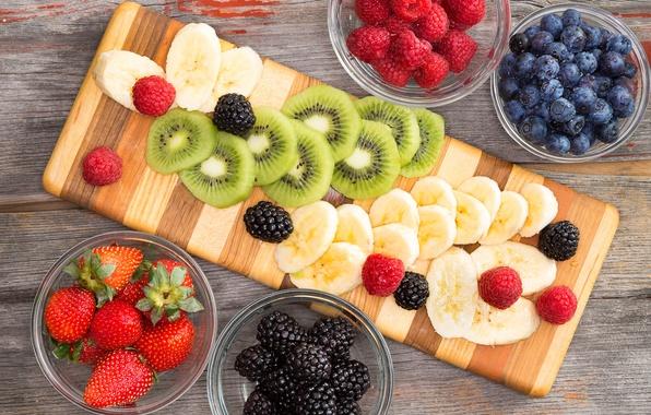 Picture berries, raspberry, kiwi, blueberries, strawberry, fruit, banana, BlackBerry, banana, fruits, berries, kiwi, blueberries, strawberries, blackberries, …