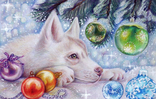 Picture winter, snow, holiday, toys, tree, new year, wolf, art, the cub