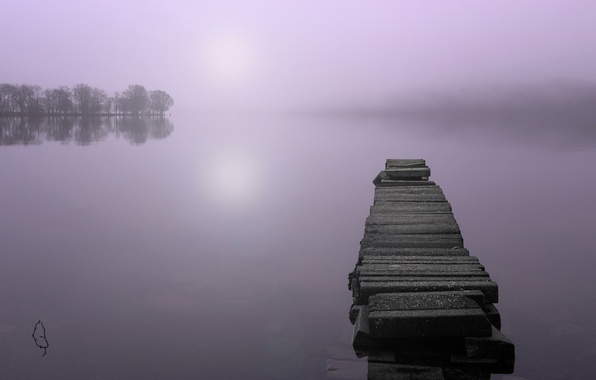 Picture landscape, bridge, fog, lake, morning