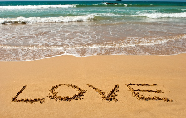 Picture sand, sea, beach, summer, love, mood, the inscription, romance, summer, love, beach, sea, sand, letters, …