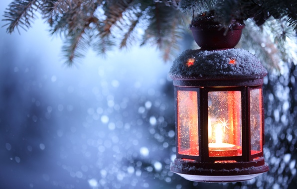 Picture winter, snow, candle, lantern, New year, new year, winter, snow, Merry Christmas, candle, lantern, merry …