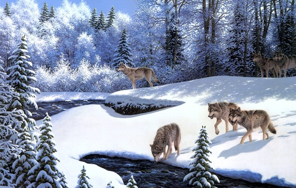 Picture winter, frost, animals, snow, river, wolves, painting, tree, fairy forest, On the Prowl, wolf pack, …