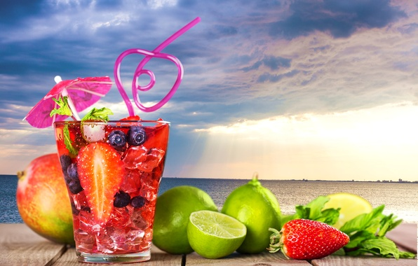 Picture sea, landscape, clouds, glass, berries, umbrella, background, overcast, lemon, horizon, strawberry, cocktail, lime, tube, fruit