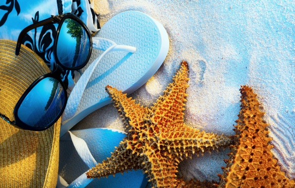 Picture summer, beach, sea, sand, glasses, vacation, starfish, step-ins