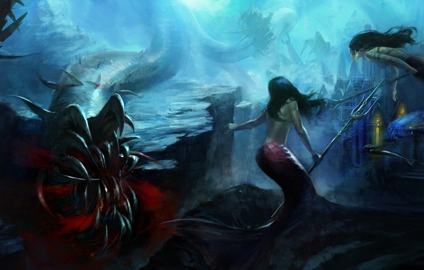 Picture the city, weapons, rocks, art, mouth, monsters, Trident, underwater world, mermaid, under water, Mazert Young