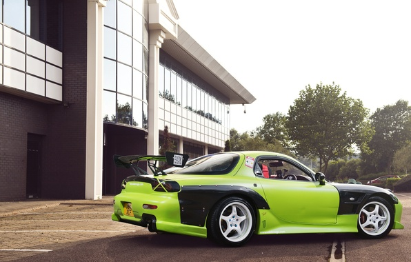 Picture green, tuning, Mazda, green, Mazda, RX7, Drift Car