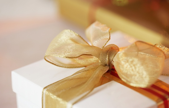 Picture gold, holiday, box, gift, tape, bow, packaging, surprise