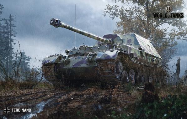 Picture road, forest, clouds, rain, dirt, slush, World of Tanks, Ferdinand, PT-ACS, German
