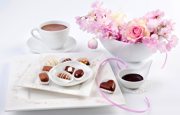 Picture flowers, holiday, rose, Sakura, candy, Cup, March 8, flowers, sakura, chocolate, cocoa, candy