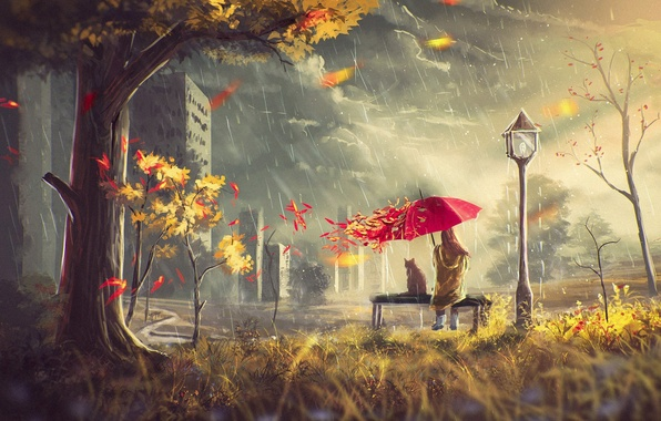 Picture autumn, cat, leaves, girl, clouds, house, rain, tree, the wind, street, umbrella