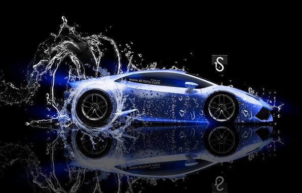 Picture Water, Black, Blue, Lamborghini, Neon, Style, Wallpaper, Background, Water, Car, Blue, Photoshop, Photoshop, Water, Neon, …