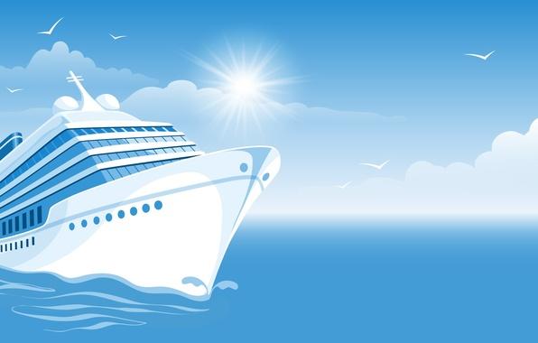 Picture sea, the sun, clouds, birds, ship, sea, cloud, birds, sun, ship