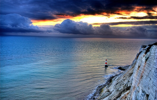 Picture sea, the sky, sunset, clouds, nature, rock, lighthouse, glow