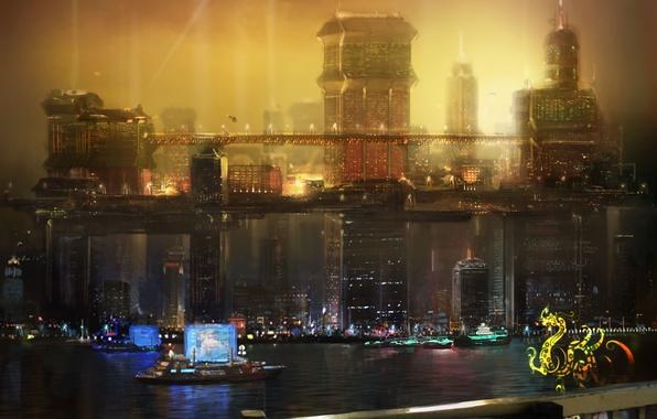 Picture night, the city, future, China, Deus Ex 3