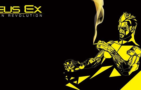Picture minimalism, cyborg, Deus Ex: Human Revolution, cyberpunk, Adam Jensen, Square enix, Adam Jensen, cyborg, Eidos …