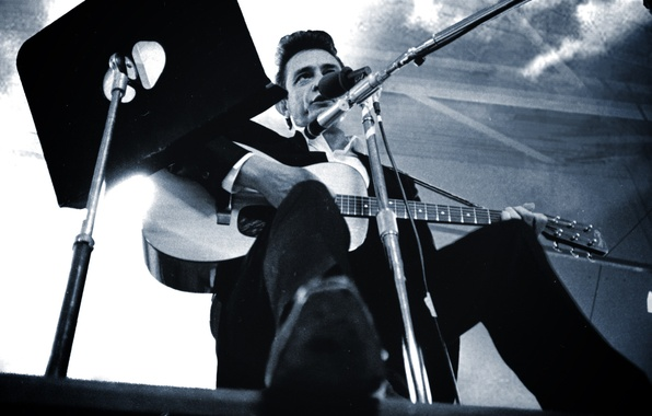 Picture guitar, costume, microphone, singer, country, country, Johnny Cash