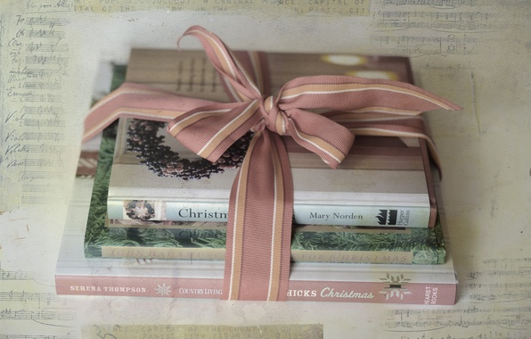 Picture background, gift, books, texture, tape, bow, Christmas