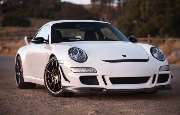 Picture white, reflection, white, porsche, Porsche, gt3, roadside, the front, GT3