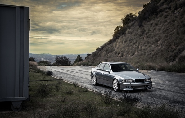 Picture road, grass, blue, bmw, BMW, slope, front view, blue, e39, lorega