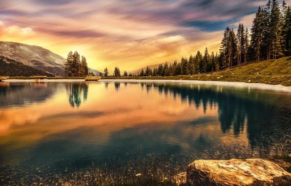 Picture the sky, lake, reflection, treatment, Austria, Mountain lake
