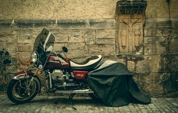Picture saints, Christ, street, Moto Guzzi, California 2, wall