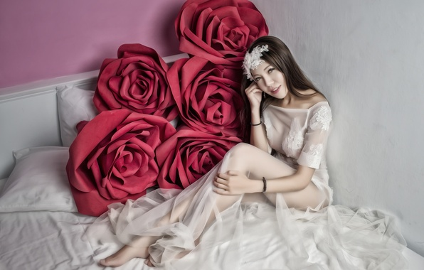 Picture girl, flowers, mood, model, bed, roses, dress, Asian, the bride