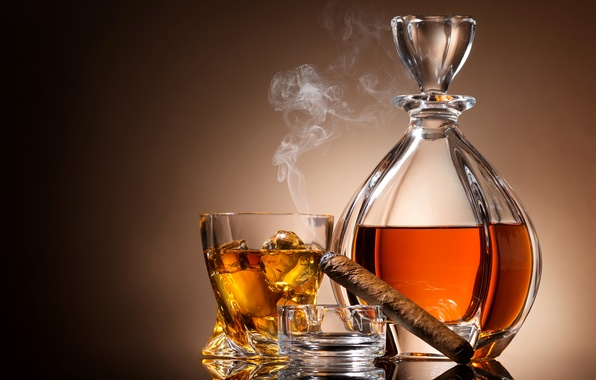 Picture glass, background, wine, smoke, ice, cigar, ashtray, decanter