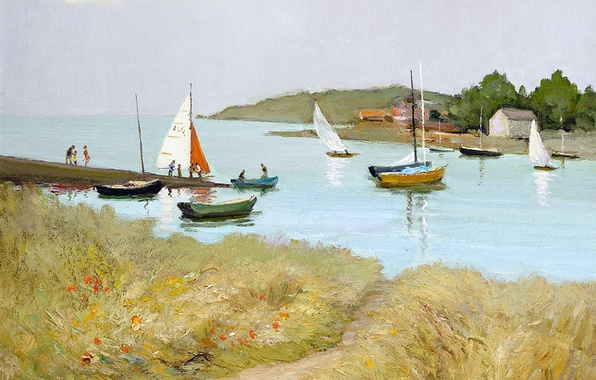 Picture sea, grass, landscape, flowers, people, shore, picture, boats, Marseille Dif, The Passage St. Armel