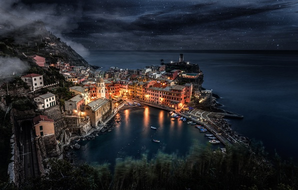 Picture sea, the sky, stars, light, night, the city, lights, rocks, home, boats, Italy, Italy, Manarola, …