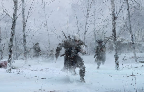 Picture winter, forest, trees, soldiers, assassin, Radunhageydu, Assassin's Creed 3, Assassin's Creed III, Connor Kenuey