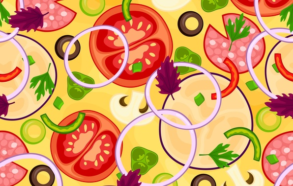 Picture greens, texture, bow, vegetables, tomatoes, texture, tomatoes, vegetables, greens, onions