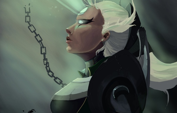Picture girl, ray, art, chain, profile, white hair, league of legends, diana
