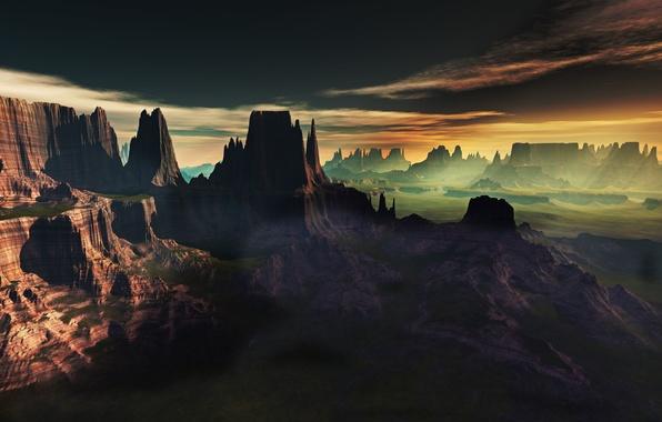 Picture clouds, landscape, sunset, fog, rocks, view, art, lightdrop