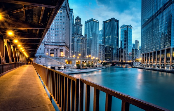 Picture road, light, bridge, the city, river, building, home, skyscrapers, the evening, lighting, Chicago, USA, USA, …