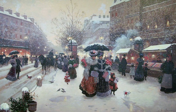 Picture winter, holiday, ladies, street, France, Paris, Christmas, gifts, New year, painting, market, Winter Pleasures, Christa …