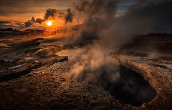 Picture the sun, sunset, lake, smoke, mountain, the volcano, cleft, couples, crater, sky, smoke, nature, sunset, …