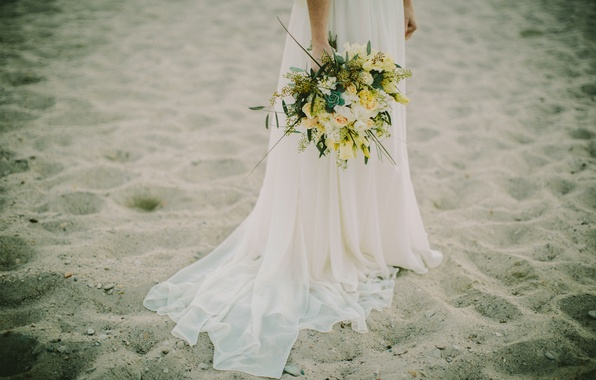 Picture sand, beach, flowers, white, bouquet, dress, the bride