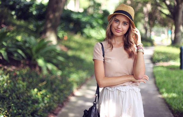 Picture girl, tree, hat, dress, track, Sonya Esman