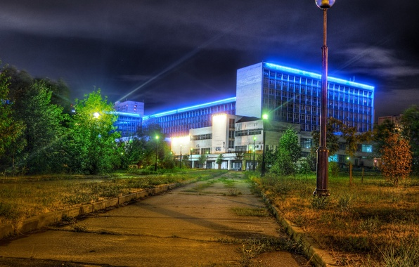 Picture trees, night, lights, the building, lights, Moscow, Russia, the sidewalk, University, Pedagogical State University