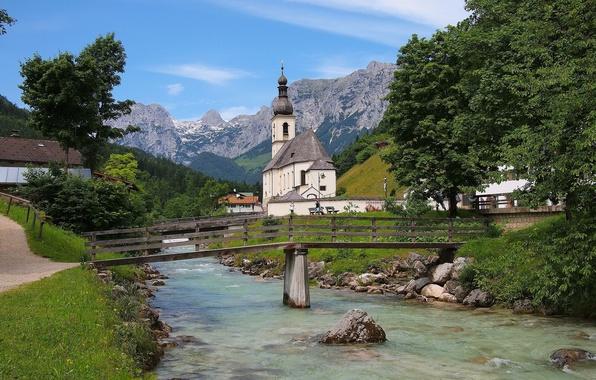 Picture mountains, bridge, river, Germany, Bayern, Alps, Church, Germany, Bavaria, Alps, Ramsau, Ramsau, St Sebastian Church