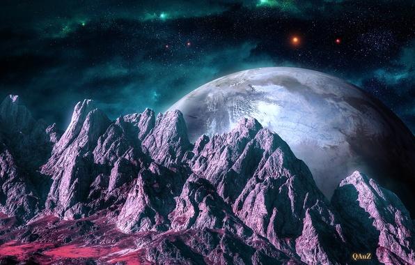 Picture space, stars, mountains, nebula, landscape, planet, art, relief, QAuZ