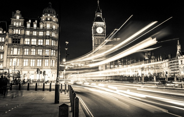 Picture road, light, machine, night, the city, people, street, England, London, building, excerpt, lighting, UK, Big …