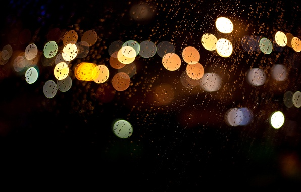 Picture glass, drops, macro, night, lights, rain, colorful, bokeh