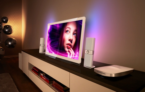 Picture girl, face, background, TV, speakers, Philips DesignLine TV