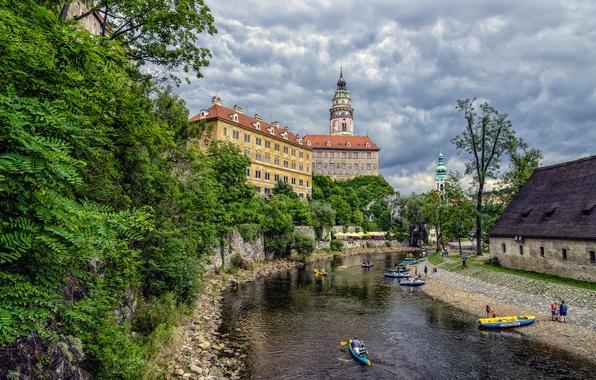 Picture the sky, clouds, trees, river, castle, boat, tower, home, Czech Republic, Cesky Krumlov