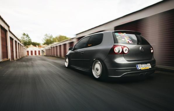 Picture grey, tuning, volkswagen, Golf, golf, Volkswagen, stance, MK5, in motion