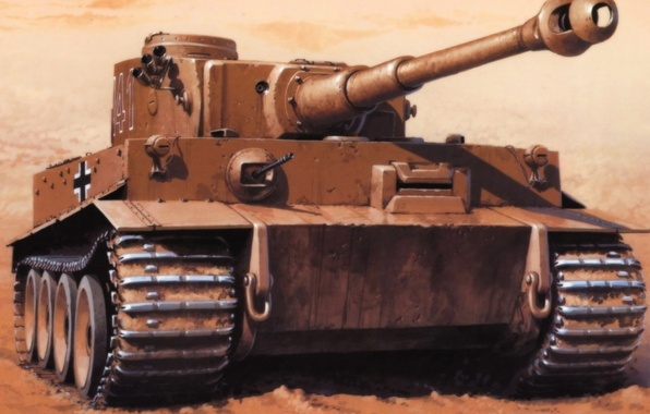 Picture tiger, figure, the Germans, the Wehrmacht, heavy tank, Wrobel, PzKpfw VI, Tiger 1, SdKfz 181
