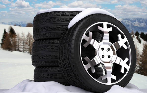 Picture nature, abstraction, background, winter, art, wheel, tires, wheels, disk, snowflake, tyres, wallpaper., car, cast