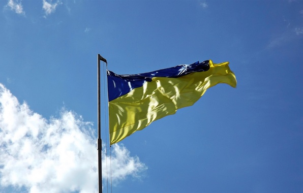 Picture UKRAINE, BLUE, BACKGROUND, The SKY, CLOUDS, YELLOW, FLAG