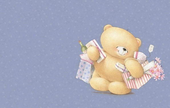 Picture smile, mood, holiday, art, bear, purchase, a bunch, children's, Forever Friends Deckchair bear